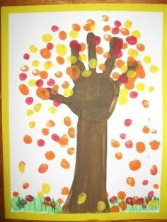 Hand with different fall leaves  Objective: Talk about how trees grow. Tree cycle craft.  Colors