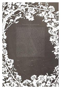 Papercut Ketubah - Cherry Blossoms