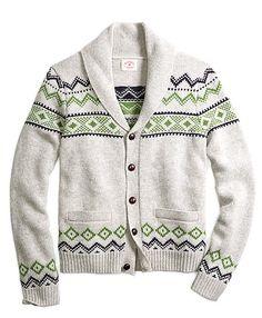 A #RedFleece Fair Isle cardigan with a shawl collar is a cozy seasonal favorite.