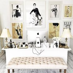 Megan Hess Illustration. Feminine with a classic vintage feel. Black + cream + gold colour palette. Study / office idea for a fashion-forward woman More