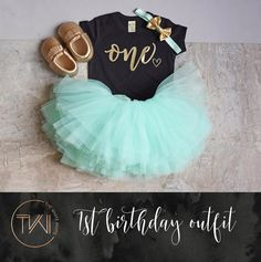 First Birthday Outfit Girl Mint Gold Tutu Girl First Birthday