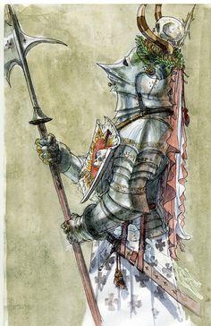 Rufus Jr - Warhammer: Knight of the Fiery Heart Medieval Knight, Medieval Armor, Medieval Fantasy, Warhammer Empire, Warhammer Art, Armor Concept, Concept Art, Warhammer Fantasy Roleplay, Crusader Knight