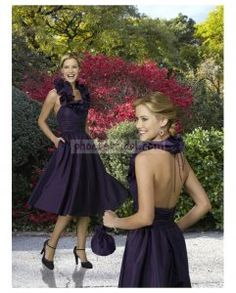 Taffeta Ruffled Halter with A line Tea length Skirt