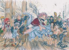 Anime Fairy Tail Erza Scarlet Natsu Dragneel Laxus Dreyar Gray Fullbuster Elfman Strauss Makarov Dreyar Mirajane Strauss Lisanna Strauss Fond d'écran