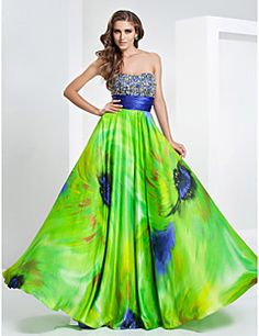 TS Couture® Prom / Formal Evening / Military Ball Dress - Floral Plus Size / Petite A-line / Princess Strapless / Sweetheart Floor-length Stretch – USD $ 485.00