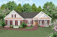 From the inviting front porch to the rear screen porch and deck, this Ranch style home spacious living spaces.  House Plan # 101004.