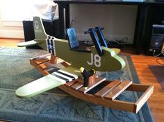 Airplane Rocker Wooden Projects, Wooden Crafts, Diy Projects, Woodworking For Kids, Woodworking Projects, Woodworking Plans, Kids Workbench, Wood Plane, Wooden Truck