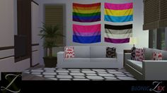 "bioniczex: ""By: bioniczex Pride Flag Set-Sims4- All Found In The Painting Section, In Buy Mode. Comes With - 4 LGBT Theme wall flags. Thanks For Downloading !! ^-^DOWNLOAD """