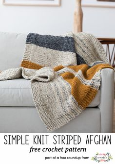 Knit this easy striped throw blanket afghan from my best knit patterns from 2017 free pattern roundup!