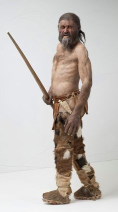 There you go; that cheeky smile again! I'm so glad you think it's funny; I've never heard of fishing line and hooks; what are they? I just whack them on the head with this pole. (Reconstruction of Otzi, the iceman.)