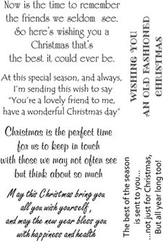 Lindsay Mason Clear Stamp Sentimental Christmas Verse More