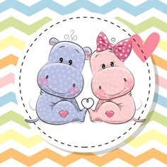 Greeting Card with Two cute Hippos. Greeting Card with Two cute cartoon Hippos vector illustration Cartoon Hippo, Cute Cartoon, Disney Cartoon Characters, Disney Cartoons, Cute Hippo, Social Media Logos, Cute Images, Animals Beautiful, Greeting Cards