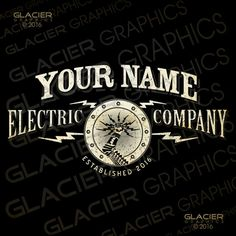 Custom Electrician Logo Electrical Logo by WAGlacierGraphics
