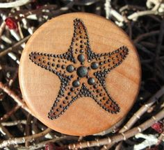 "Sea Star Starfish Pyrography Woodburning on 1.5"" Diameter Round Wood Box"