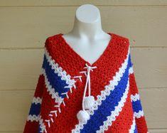 Knitted Poncho Boho Poncho Vintage Knit Poncho Fringed sweater cape boho blanket poncho Red White and Blue Poncho