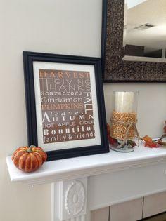 Fall decor... framed scrapbook paper