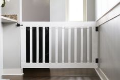Make your own DIY custom baby gate to install at the top of stairs or in hallways. These baby gates can be customized to fit your space & match your decor. Wood Baby Gate, Baby Gate For Stairs, Diy Baby Gate, Stair Gate, Baby Turtle Costume, Custom Baby Gates, Best Baby Gates, Diy Furniture Plans, Wood Pieces