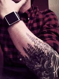 Forest sleeve tattoo (snow covered tops)