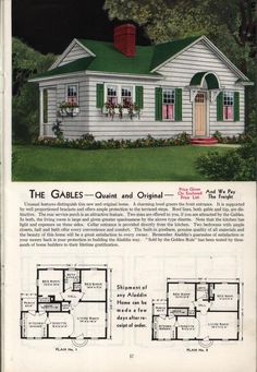 1940 - Aladdin Kit Homes Catalog-The Gables. I like the roof lines & layout for this cottage. Would work nicely with an even smaller home plan. Instead of a cellar maybe add a second floor master suite, stairs in the current place. Sims House Plans, Small House Plans, House Floor Plans, Big Houses, Little Houses, Vintage House Plans, Living Vintage, The Gables, The Sims