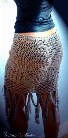 Sexy crochet skirt Embelish skirt fringe by Cristinasatelier