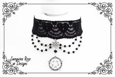 BEADED PENTAGRAM PAGAN Choker Necklace, Wicca Black Lace Beaded Choker Necklace, Unique Gothic Choker Necklace, Adjustable, Various Sizes Wicca, Pagan, Black Lace Choker, Gothic Chokers, Beaded Choker Necklace, Beaded Lace, Etsy Shop, Jewellery, Unique