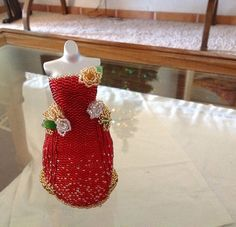 OOAK Miniature Bead Dress Christmas by pinkythepink on Etsy, $1038.00