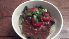 Jan 30: brown rice bowl with mole and kale
