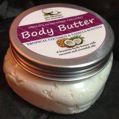 Buy Body Butter- Tropical Coconut&Vanilla from Ashlie's Homemade Sugar Scrub. Homemade Body Butter, Sugar Scrub Homemade, Mason Jars, Vanilla, Coconut, Tropical, Mason Jar, Glass Jars, Jars