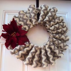 Handmade Light Grey and White Burlap Chevron Christmas Wreath with Deep Red Poinsetta and Red Berrys Accent on Etsy, $35.00