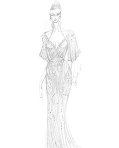 """He's designed for Beyoncé, Lady Gaga, Naomi Campbell, Olivia Palermo, and more. So it's no surprise that Alon Livné's Fall 2017 bridal line features dresses that modern and traditional brides alike will love. """"The floral motifs, interlocking organic patterns, and curvilinear embellishments, as seen in the Pearl sketch [above], are inspired by the stylistic elements of the Spanish Art Nouveau movement of the late 19th and 20th centuries,"""" Livné tells us. """"Pearl, along with the entirety of the…"""