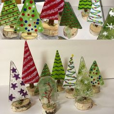 fused funky christmas trees on birch slices charity auction donation