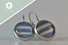 Cabochon Ohrringe blau weiß gestreift von liduno auf DaWanda.com Etsy, Stripes, Schmuck