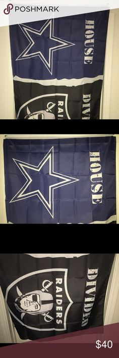 """Oakland raiders / Dallas cowboys House divided NIP for sale is a NFL Oakland Raiders / Dallas Cowboys team flag. Flag says house divided. Some of us live in a house where our mother, father, brother or sister root for a different team than everybody else.   This flag is the best way to show support for both teams so everybody in the house is going to have a good time while watching games together.   Flag measures approximately 57"""" X 37""""   If you have any questions or would like additional…"""