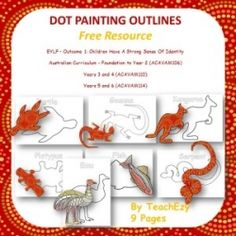 Aboriginal Dot Painting Outlines Free Resource