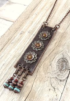 Boho Leather Long Gypsy Metal Filigree Ethnic Necklace, Rustic Earthy Hippie Turquoise Blue Stone Statement Bohemian Distressed Jewelry - Boho Leather Necklace Hippie Long Necklace Gypsy Style By Olessya Designs @ Etsy Fabric Jewelry, Boho Jewelry, Jewelry Crafts, Handmade Jewelry, Jewelry Design, Jewellery Box, Designer Jewelry, Fashion Jewelry, Jewellery Shops