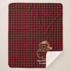 Red Buffalo Happy Golden Santa Holidays Monogram Sherpa Blanket - home decor design art diy cyo custom