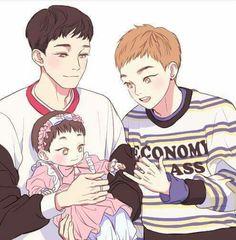 With his daughter Kaisoo, Kyungsoo, Chanbaek, Exo Chen, Exo Korean, Cute Korean, Exo Anime, Anime Art, K Pop