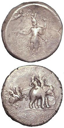 """Victory coin"" of Alexander the Great, minted in Babylon c.322 BCE, following his campaigns in India. Obv: Alexander being crowned by Nike. Rev: Alexander attacking king Porus on his elephant. Silver. British Museum."