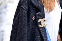 Chanel brooch and Isabel Marant coat