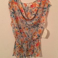 Sheer floral top! Low cut and never worn before Tops Blouses