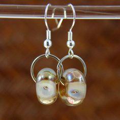 Metallic Gold Handmade Lampwork Earrings by MsCherieLivingston, $28.00