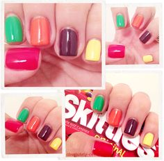 "Chasing the Rainbow/actual ""Skittles"" nail art. #absolutelycee"