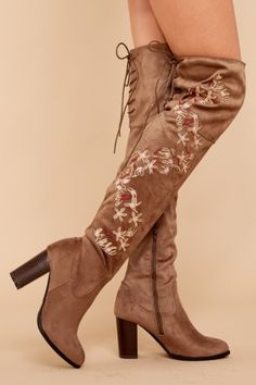 1 Something About You Taupe Embroidered Over The Knee Boots