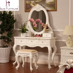 Beautiful High-End European Style Carved Solid Wood Vanity Set White or Ivory