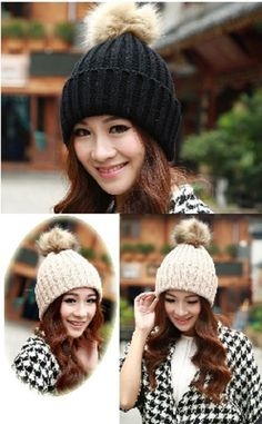Women Beanie Knitted Caps Rabbit Fur Pompoms Ear Protect Casual Cap Hats  WCA095  Unbranded  Beanie  Casual d208ea41b05b