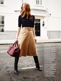Midi skirt, knee-high boots and turtle neck jumper. How gorgeous is the burgundy tote? (By Coccinelle)