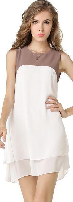 Patchwork Sleeveless Double Layers Chiffon Short Dress
