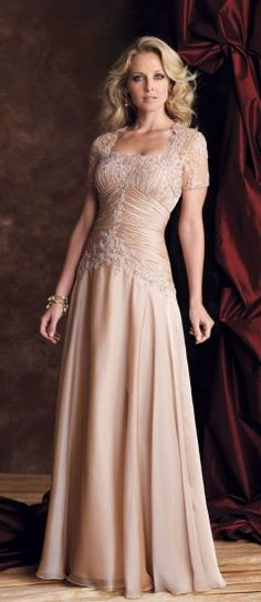 A-line Floor-length Strapless Chiffon Champagne Mother of the Bride Dress - Mother of the Groom Dress Ideas Mother Of Groom Dresses, Bride Groom Dress, Mothers Dresses, Bride Gowns, Mother Of The Bride, Wedding Bride, Wedding Attire, Wedding Ideas, Elegant Wedding