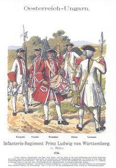 Band XVII #14.- Österreich-Ungarn. Inf. Rgt. Prinz Ludwig von Württemberg 1724.