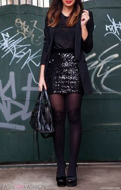 Black sequin mini skirt, black blazer, black tights